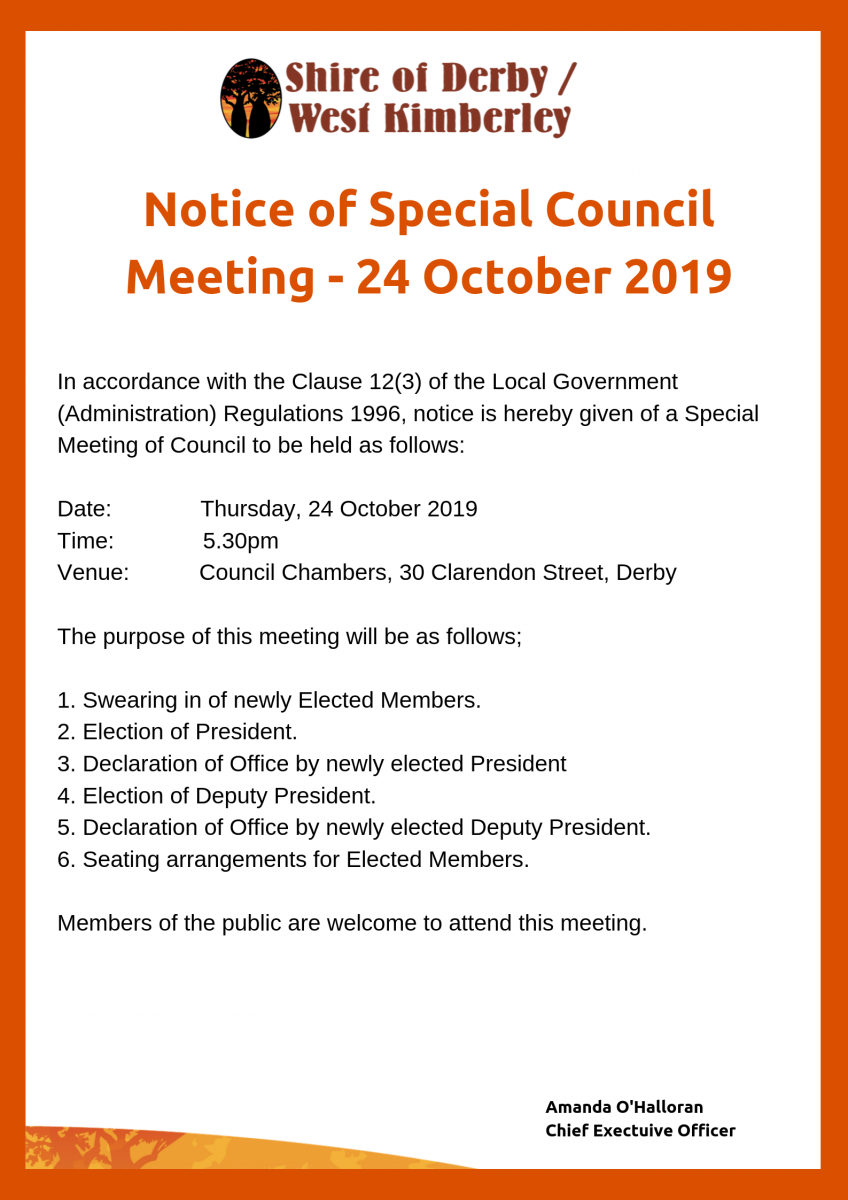 Special Council Meeting will be taking place on 24 October 2019