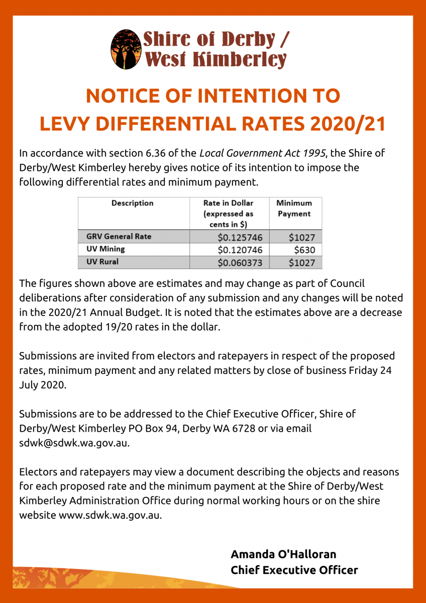 Public Notice - NOTICE OF INTENTION TO LEVY DIFFERENTIAL RATES 2020_21
