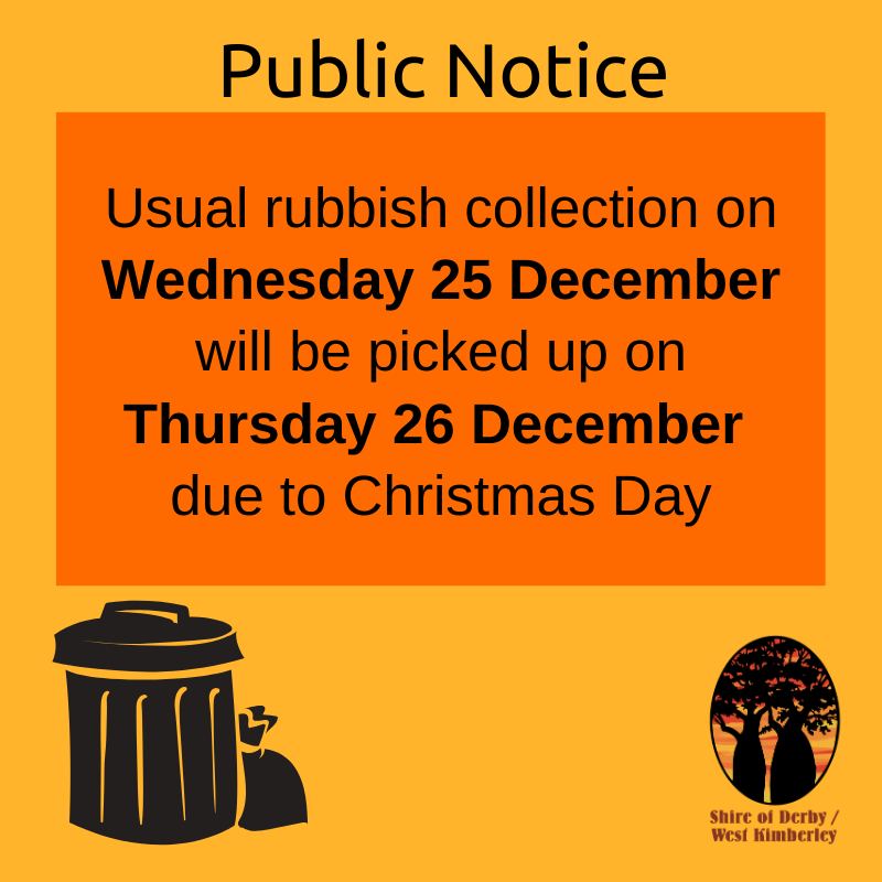 Christmas Day waste collection will be Thursday 26 December 2019