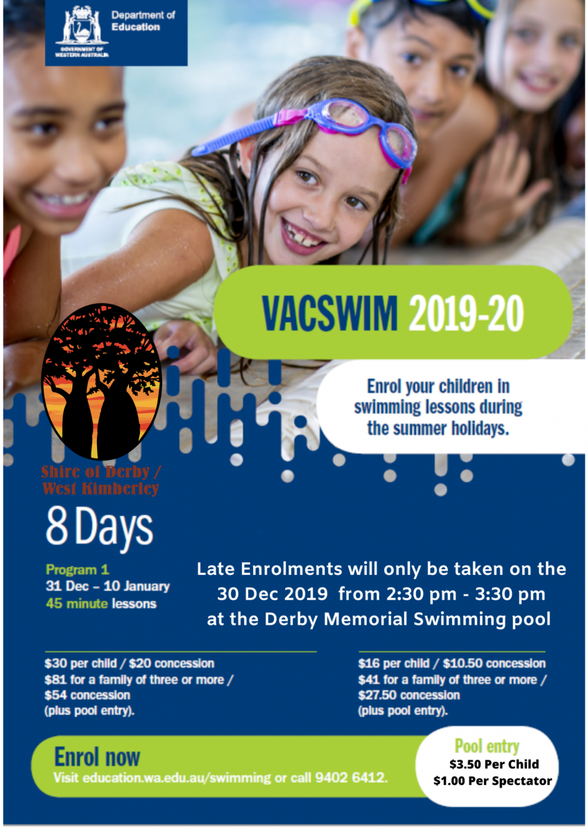 VacSwim Enrolment 30 December 2019 2.30-3.30pm